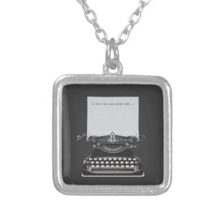 It was a Dark and Stormy Night Square Pendant Necklace