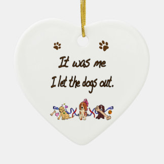 It was me… I let the dogs out Double-Sided Heart Ceramic Christmas Ornament