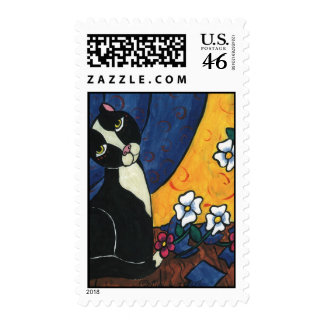 It Wasn t Me - Tuxedo Cat Postage Stamps