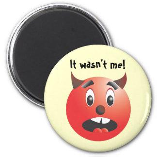 It wasn't me! Scared Devil magnet