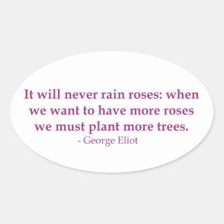 It Will Never Rain Roses Oval Sticker