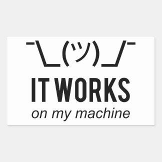 It works on my machine - Programmer Excuse Black Rectangular Sticker