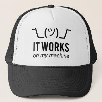 It works on my machine - Programmer Excuse Black Trucker Hat