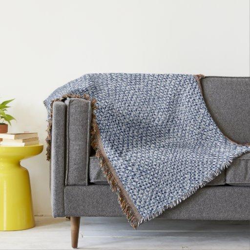 Itajime Shibori Blue Check Textile Geometric Look Throw