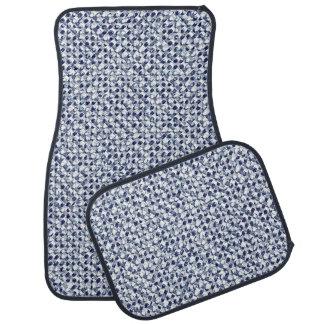 Itajime Shibori Blue Check Textile Geometric Weave Car Mat