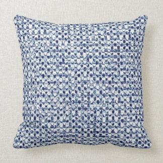Itajime Shibori Blue Check Textile Geometric Weave Pillow