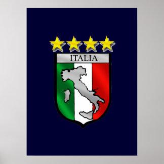 Italia 4 regalos del fútbol de los campeones del m póster