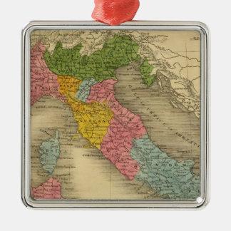 Italia 8 adorno navideño cuadrado de metal