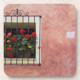 Italia, Asciano, cajas de ventana con la primavera Posavasos