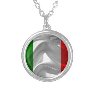 Italia-Bandera Collar Plateado