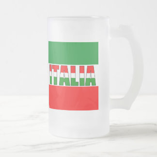 Italia-Bandera de Italia Jarra De Cerveza Esmerilada