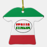 Italia-Bandera de la Italia-T-Camisa Ornaments Para Arbol De Navidad