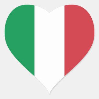 Italia/bandera italiana del corazón pegatina en forma de corazón