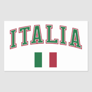 Italia + Bandera Pegatina Rectangular
