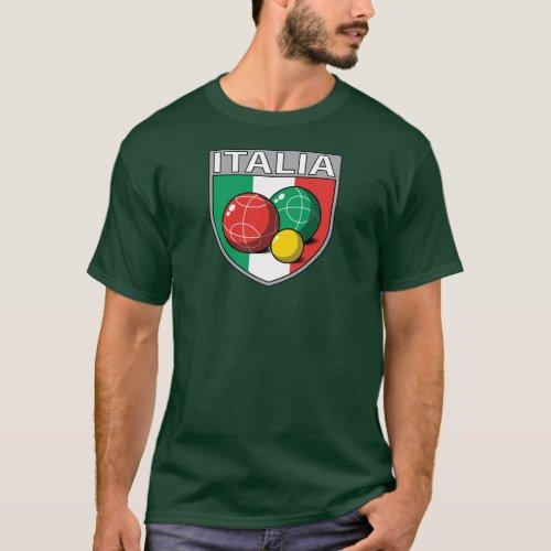 Italia Bocce Shield Mens Dark T_Shirt