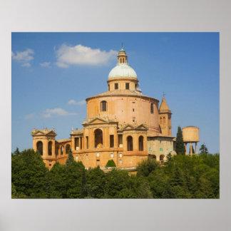 Italia, Bolonia, día soleado con Portico di San Póster