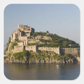 ITALIA, Campania, bahía de Nápoles), ISQUIONES, 2 Pegatina Cuadrada
