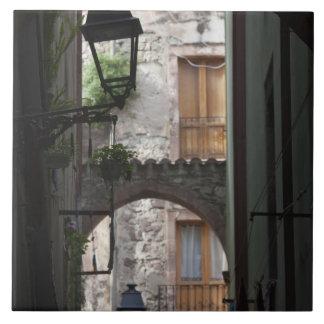 Italia, Cerdeña, Bosa. Detalle de la calle Azulejo Cuadrado Grande