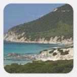 Italia, Cerdeña, Solanas. Playa Calcomanía Cuadradas Personalizada