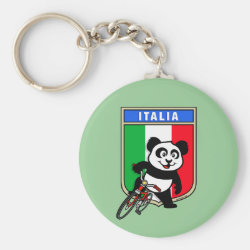 Basic Button Keychain with Italian Cycling Panda design