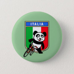 Italian Cycling Panda Round Button
