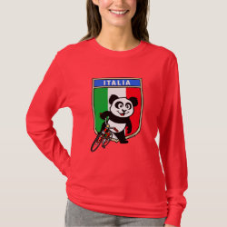 Women's Basic Long Sleeve T-Shirt with Italian Cycling Panda design