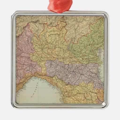 Italia del norte 2 adorno navideño cuadrado de metal