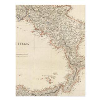 Italia del sur con las islas maltesas postal