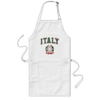 Italia + Emblema de Italia Delantal Largo