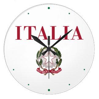 Italia + Emblema de Italia Relojes De Pared