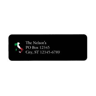 Italia en colores de la bandera etiqueta de remite