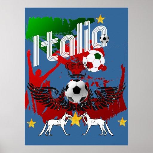 Italia fans calcio Azzurri Italy fla sports fan Poster