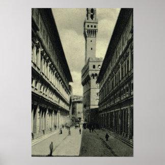 Italia, Firenze, Galleria y Palazzo Vecchio Poster