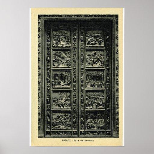 Italia, Firenze, puertas del Bapistry Póster