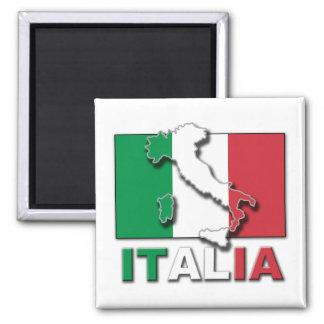 Italia Flag Land 2 Inch Square Magnet