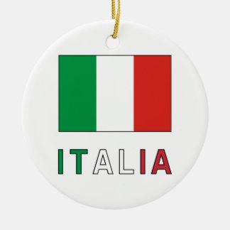 Italia Flag & Word Ceramic Ornament