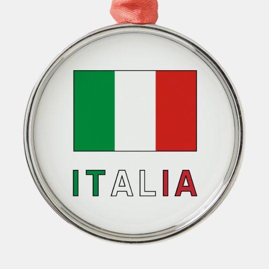 Italia Flag & Word Metal Ornament