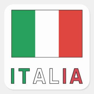 Italia Flag & Word Square Sticker