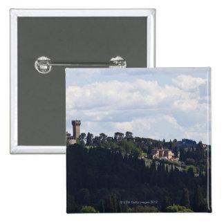 Italia, Florencia, castillo en la cumbre 2 Pin Cuadrado