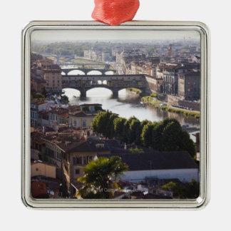 Italia, Florencia, Ponte Vecchio y el río Arno Adorno Navideño Cuadrado De Metal
