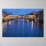 Italia, Florencia, reflexiones de la noche en Poster