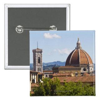 Italia, Florencia, vista de la catedral de Florenc Pin Cuadrada 5 Cm