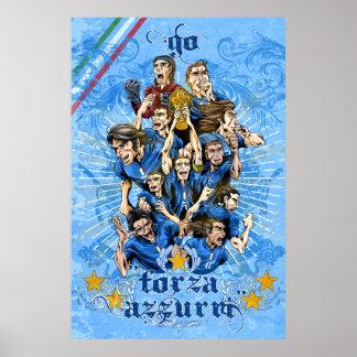 Italia Forza Azzurri Soccer Calcio art - Alejandro Poster