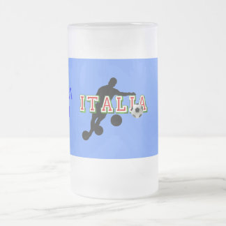 Italia Logo soccer players Bend it Shirt 16 Oz Frosted Glass Beer Mug