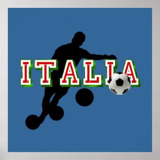 Italia Logo soccer players Bend it Shirt Poster