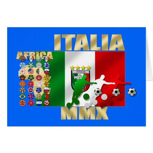 Italia MMX Italy flag soccer players artwork gifts Greeting Cards