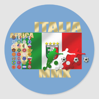 Italia MMX Italy flag soccer players artwork gifts Classic Round Sticker