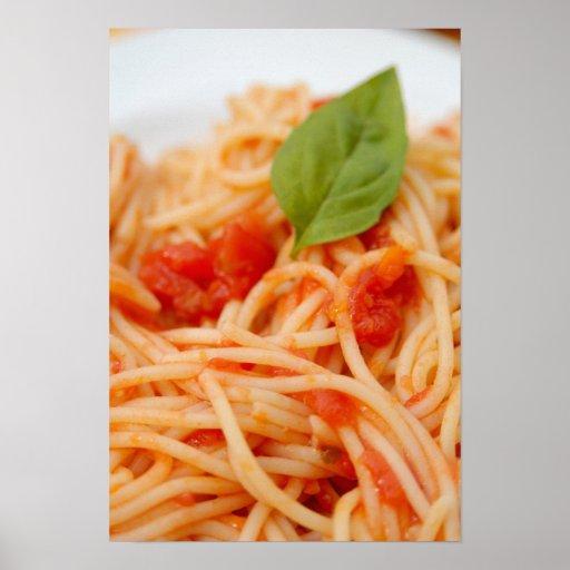 Italia, Orta, lago Orta, espagueti con el tomate Posters
