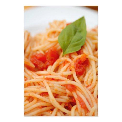 Italia, Orta, lago Orta, espagueti con el tomate Cojinete