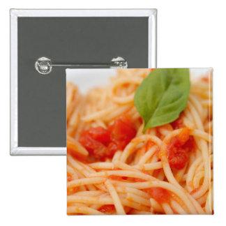 Italia, Orta, lago Orta, espagueti con el tomate Pin Cuadrado